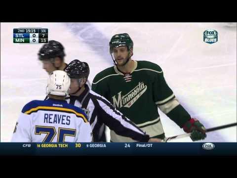 Ryan Reaves challenging Marco Scandella St. Louis Blues vs Minnesota Wild Nov 29 2014 NHL
