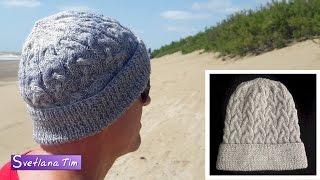 Как связать мужскую шапку спицами. Вязание мужской шапки # 505