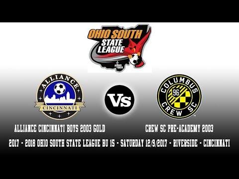 2017 - 2018 OSSL BU15 | Alliance Cincinnati B03 Gold Vs Crew SC Pre-Academy 2003
