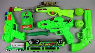 All are Green Colors Toys Set for Children - Toys School Bus, Car, Truck, Toy Gun and More