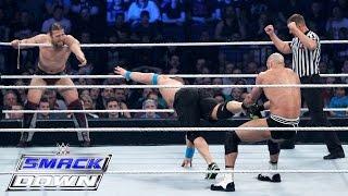 مباراة جون سينا ودانيال براين ضد سيزارو وتايسون كيد 16/4/2015