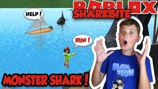 MONSTER SHARK IN THE LAKE! ROBLOX SHARKBITE