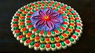 colourful rangoli for gudi padva   rangoli design by shalini   Easy rangoli for festivals