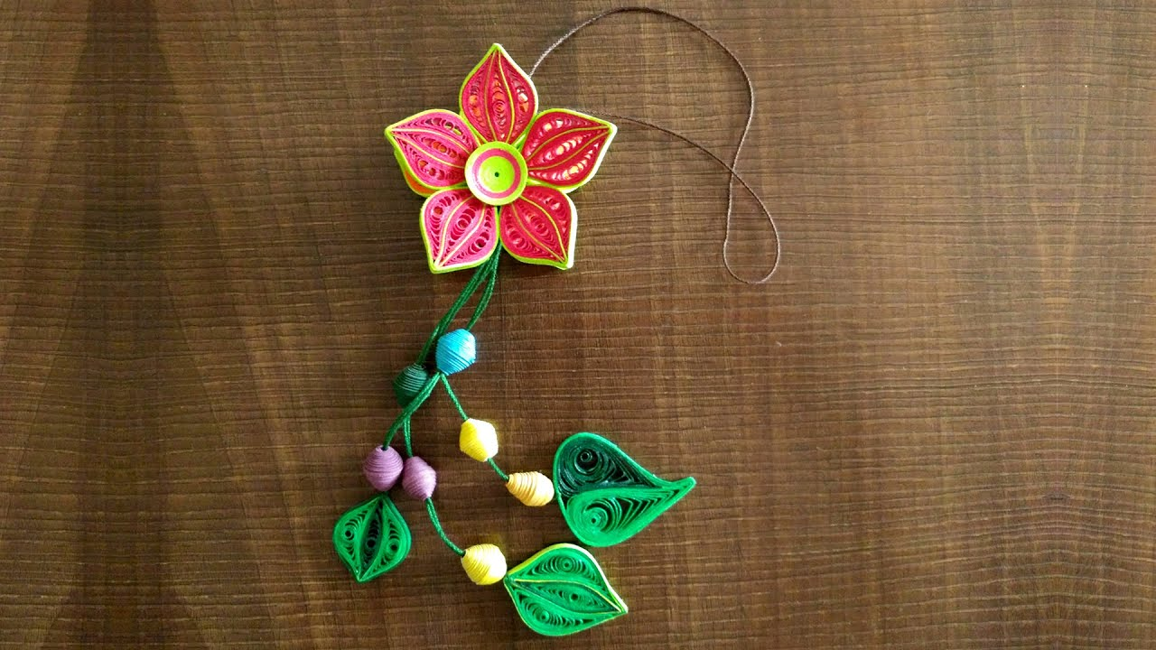 Diy how to make beautiful flower danglers using paper art diy how to make beautiful flower danglers using paper art quilling youtube dhlflorist Image collections