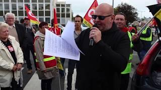 Mathias Dupuis, secrétaire de la CGT de Dieppe, lance la manifestation du 12 septembre