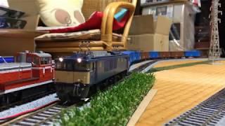 【HOゲージ鉄道模型】ヤードと渡り線をうねる貨物列車(EF64 1000番台+ワム8/ワム38他)