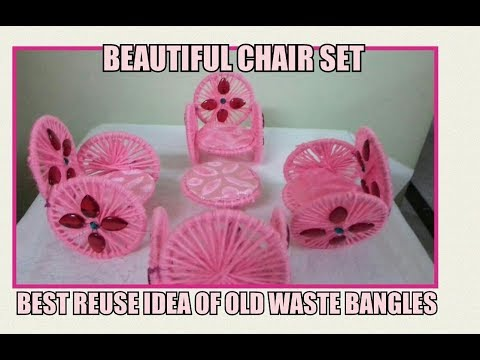 Beautiful chair set with old waste bangles / reuse of old bangles / best of waste – SS Art Creations