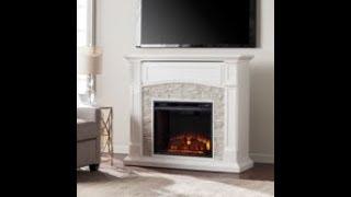 FE9362: Seneca Electric Media Fireplace - White w/ White Faux Stone Assembly Video