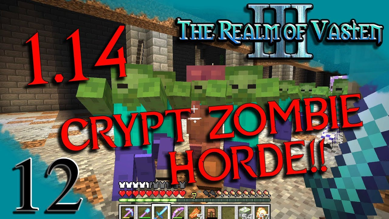 Zombie Horde in the Crypt! (thanks, 10.104 lighting glitch!)  Realm of  Vasten Ep102  Minecraft SMP