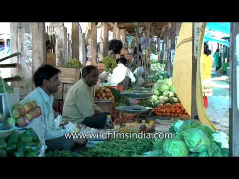 Fresh organic vegetables for sale in local market of Roing