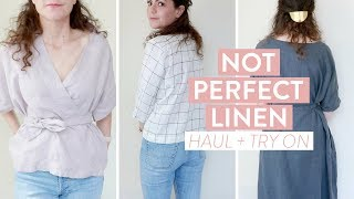 not perfect linen haul try on summer wardrobe table linens and overall review