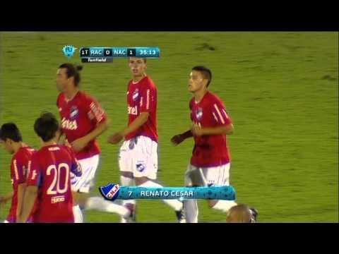 Renato Cesar goal for Racing v Nacional in Uruguayan Primera Division!