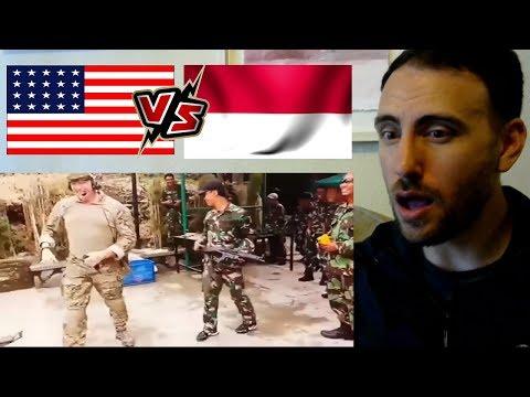 AMERICAN REACTION Mengadu Kekuatan TNI Indonesia vs Tentara Amerika - reaksi bule
