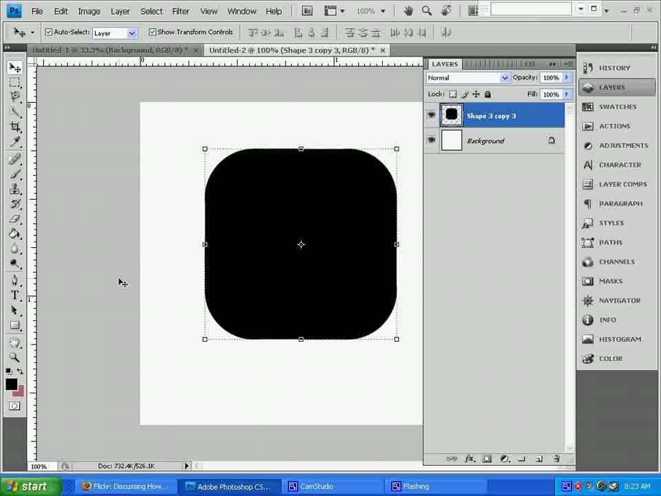 make rounded corner squares in photoshop - YouTube