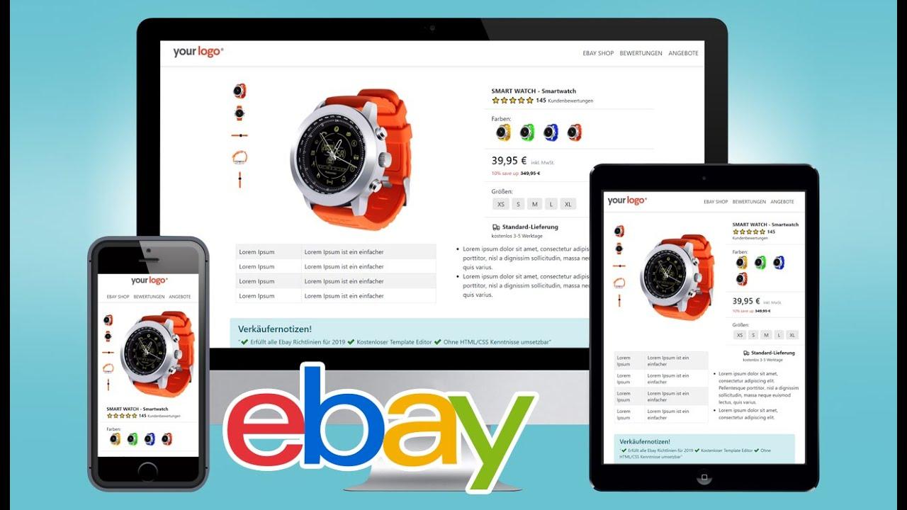 Free Ebay Listing Template Html Mobile Responsive Design 2019 Ebay Vorlage Youtube