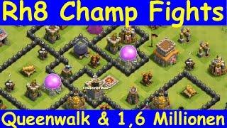 [129] Rathaus 8 Champ Fights   Queenwalk   1,6 Millonen Loot   COC   Deutsch German