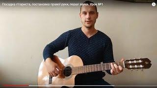 Посадка гітариста, постановка правої руки, перші звуки. Урок №1