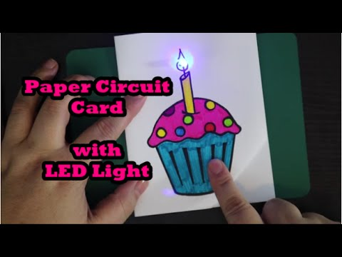Cupcake Paper Circuit Card with LED Light