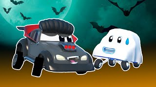 Truck cartoons for kids -  HALLOWEEN: GHOST chases after SPIDERMAN TRUCK - Super Truck in Car City !