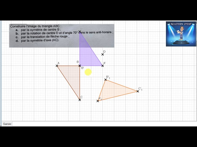 Symétrie, translation et rotation d'un TRIANGLE - Maths 4ème