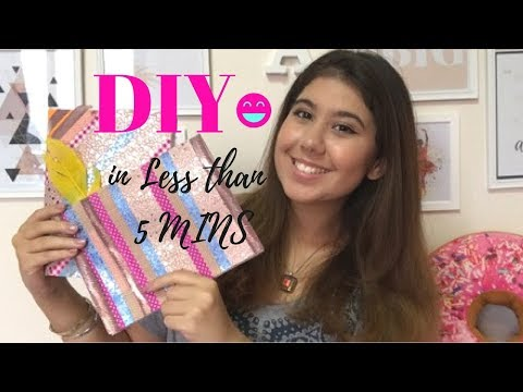 DIY Notebook Cover DESIGN IN LESS THAN 5 MINUTES!! في اقل من خمس دقايق