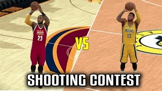 CAN LEBRON BEAT PAUL GEORGE IN A SHOOTING COMPETITION? NBA 2K17 GAMEPLAY!