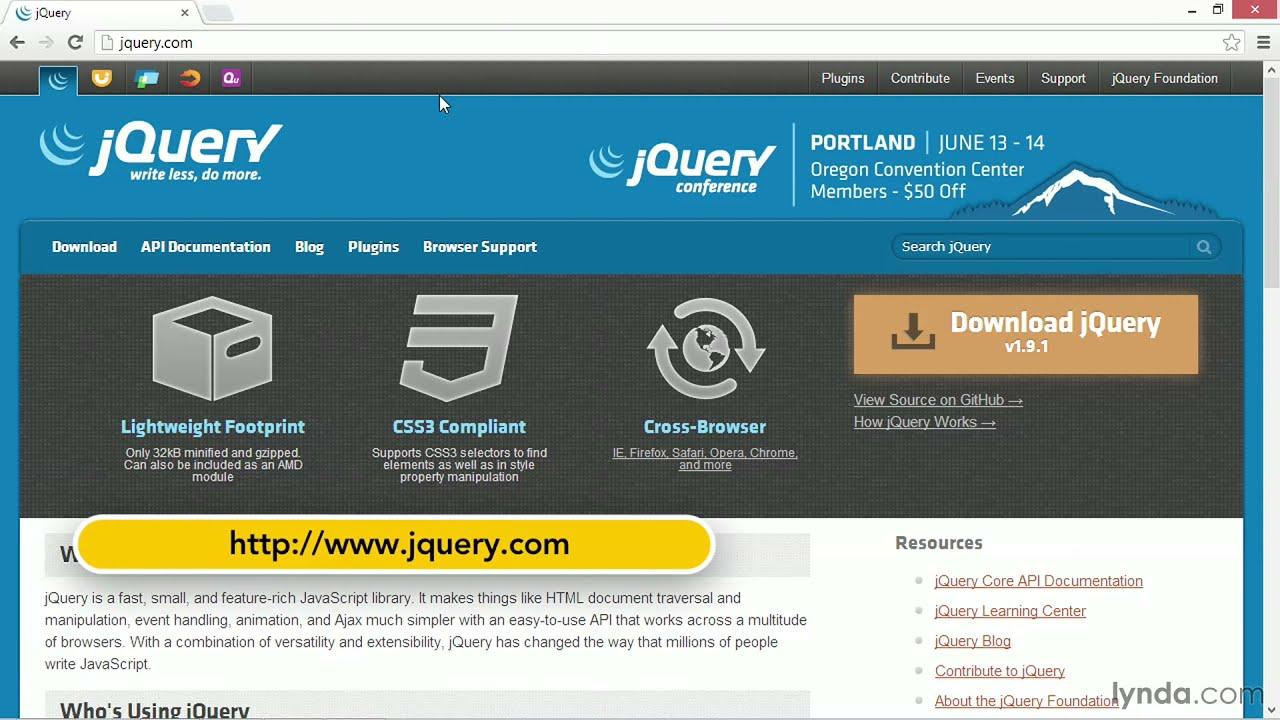 jQuery tutorial: Downloading and installing jQuery | lynda com