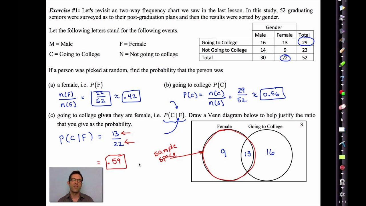 Probability Venn Diagram Worksheet Citroen Berlingo Alternator Wiring Common Core Algebra Ii.unit 12.lesson 4.conditional - Youtube