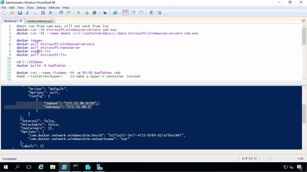 Demo of Containers and Docker on Windows Server