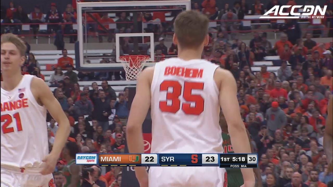 Miami Vs Syracuse Basketball Highlights 2018 19 Youtube