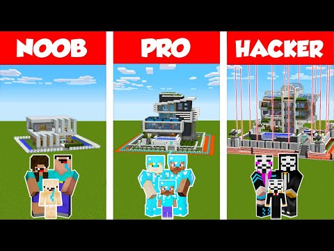 Minecraft NOOB vs PRO vs HACKER: SAFEST FAMILY HOUSE 2 - BUILD CHALLENGE in Minecraft / Animation