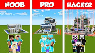 Minecraft NOOB vs PRO vs HACKER: SAFEST MODERN FAMILY HOUSE 2 - BUILD CHALLENGE / Animation