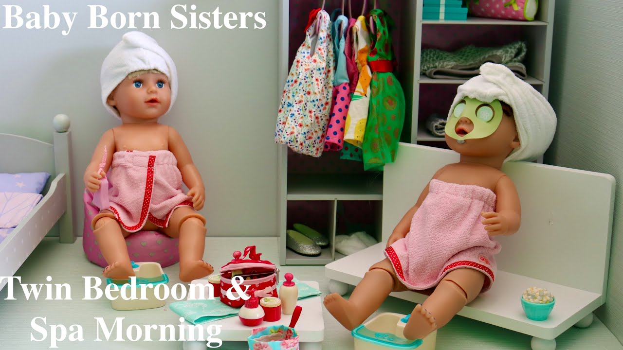 Baby Born Sisters Twin Dolls Bedroom & Girls Spa Morning, Pretend play with Baby Dolls