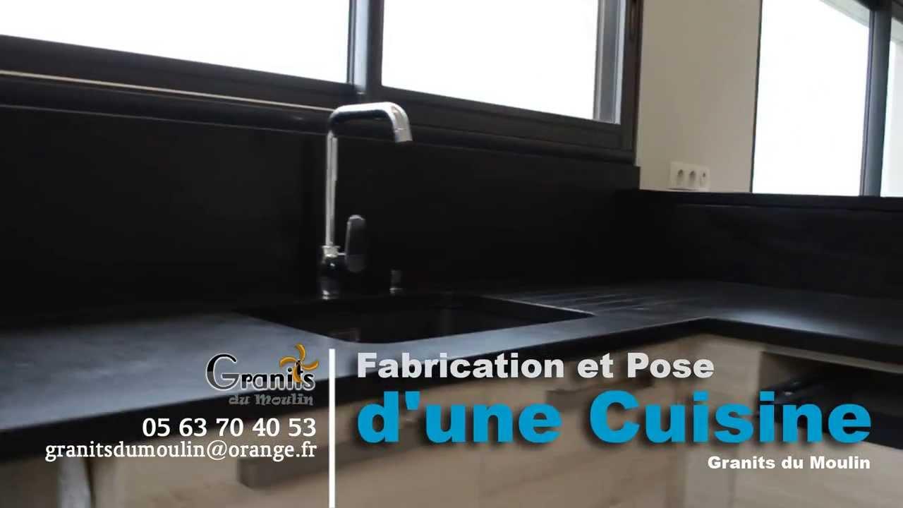 de la r alisation la pose d 39 un plan en granit noir fin effet cuir par granit du moulin tarn. Black Bedroom Furniture Sets. Home Design Ideas