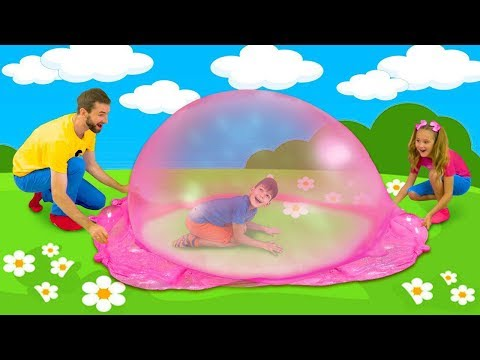 Sasha And Max Playing With Colorful Slime And Make Huge Slime Bubble