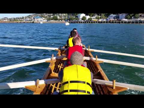 Wellington currach on the water