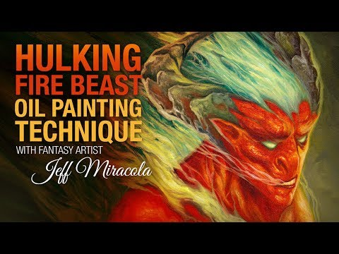 Hulking Fire Beast Fantasy Oil Painting by Fantasy Artist Jeff Miracola