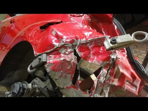 Сложный ремонт заднего крыла в сложном месте.Хендай Велостер.Часть2