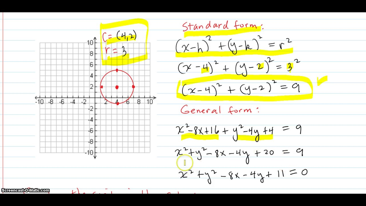 Find the standard equation of the circle with the given radius r and find the standard equation of the circle with the given radius r and center c then graph the circle falaconquin