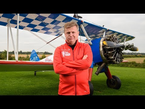 Aled Jones wing walking in the air for Global's Make Some Noise