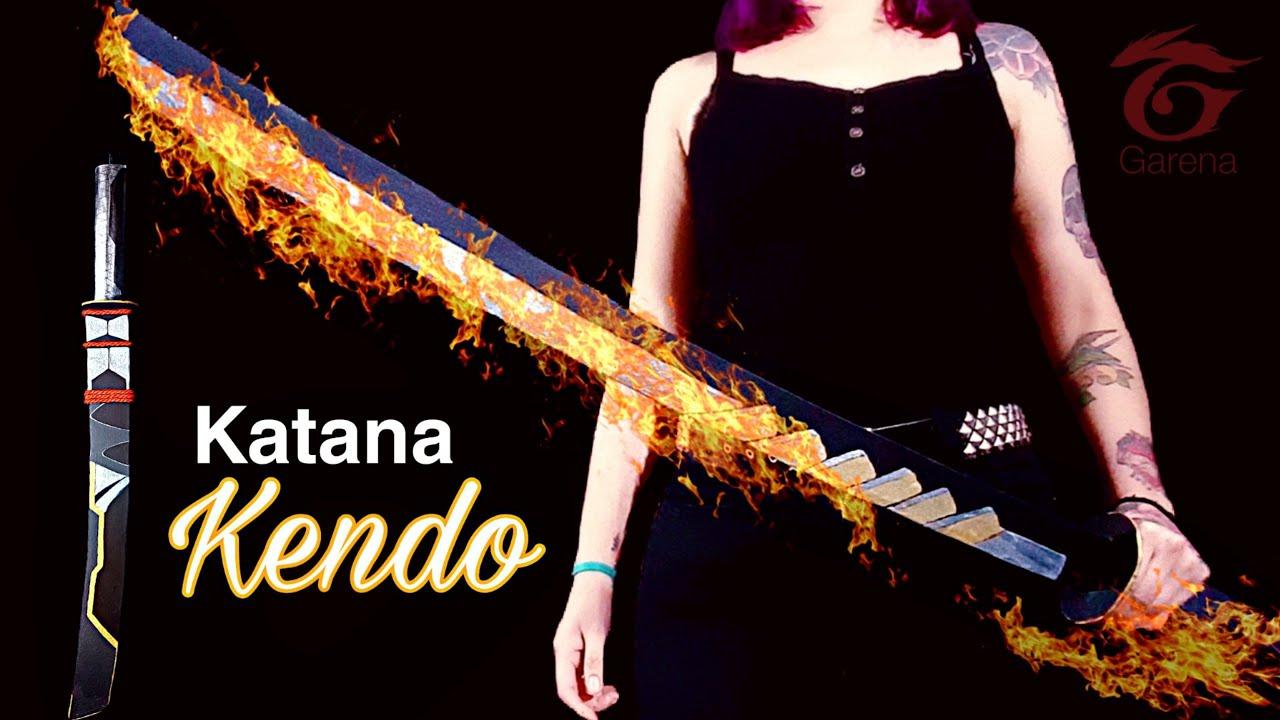 """DIY- Cómo Hacer la """"KATANA KENDO de Free Fire"""" / Cómo hacer una katana de Cartón ~ Hacelo Vos 🔥"""