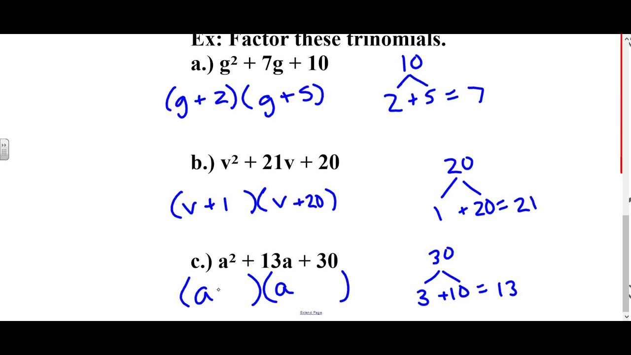 Algebra Lesson 7 5 Factoring Trinomials In The Form X 2 Bx C