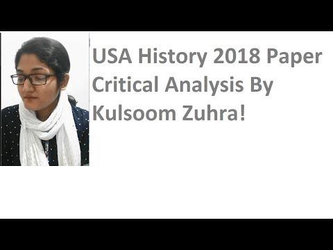 CSS USA History Paper 2018 Critical Analysis By Kulsoom Zuhra
