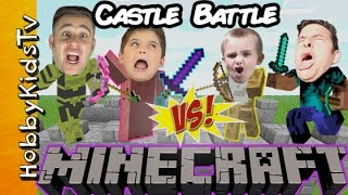 Minecraft Castle Build! BATTLE + Treasure HUNT With Live Skit of Brothers Vs. Brothers HobbyKidsTV