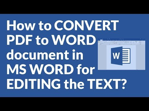 How To CONVERT PDF To WORD Document In MS WORD For EDITING The TEXT?