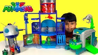 NEW PJ MASKS MISSION CONTROL HQ PLAYSET Toys Unboxing And Playing With Super Moon Owlette Catboy