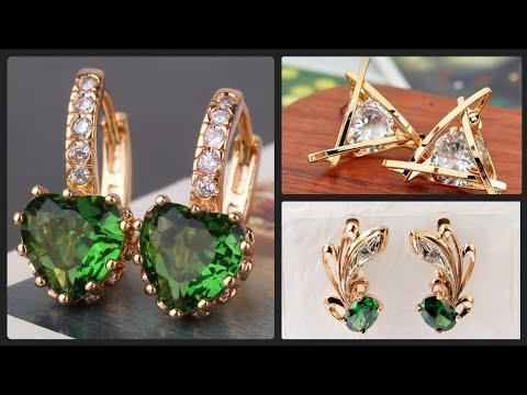 Luxury 18k Gold Diamond & Emerald Stud Earrings Light Weight Gold Drop Earrings Designs