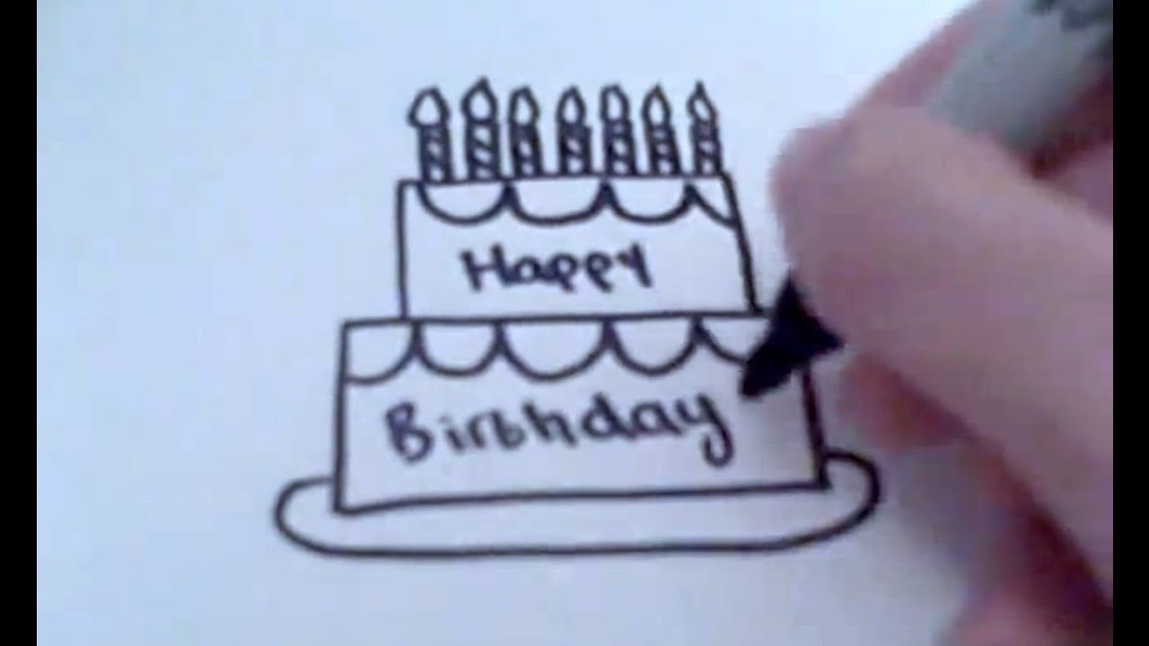 How To Draw A Cartoon Birthday Cake Youtube