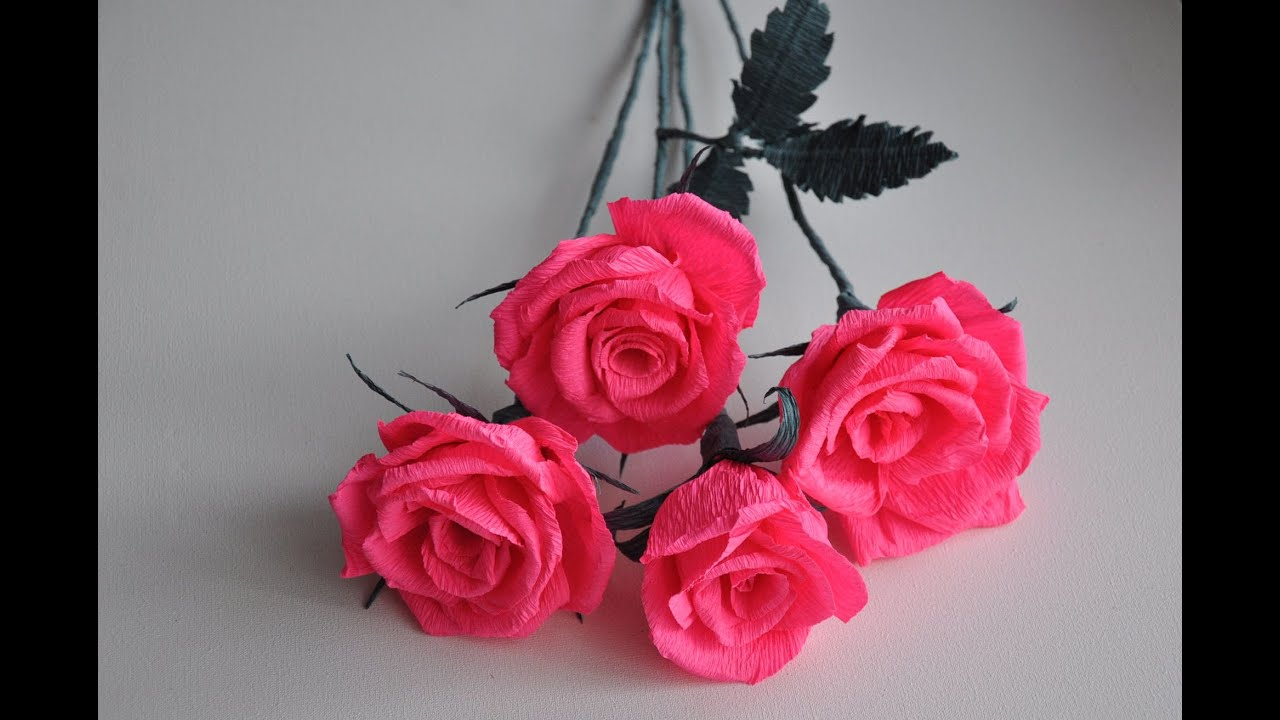 Crepe Paper Rose Step By Step Diy Youtube