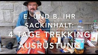 Sackinhalt für vier Tage Trekking zu zweit